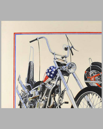 """Together Again"" painting by Harold Cleworth, 30th anniversary ""Easy Rider"", autographed by Peter Fonda 4"