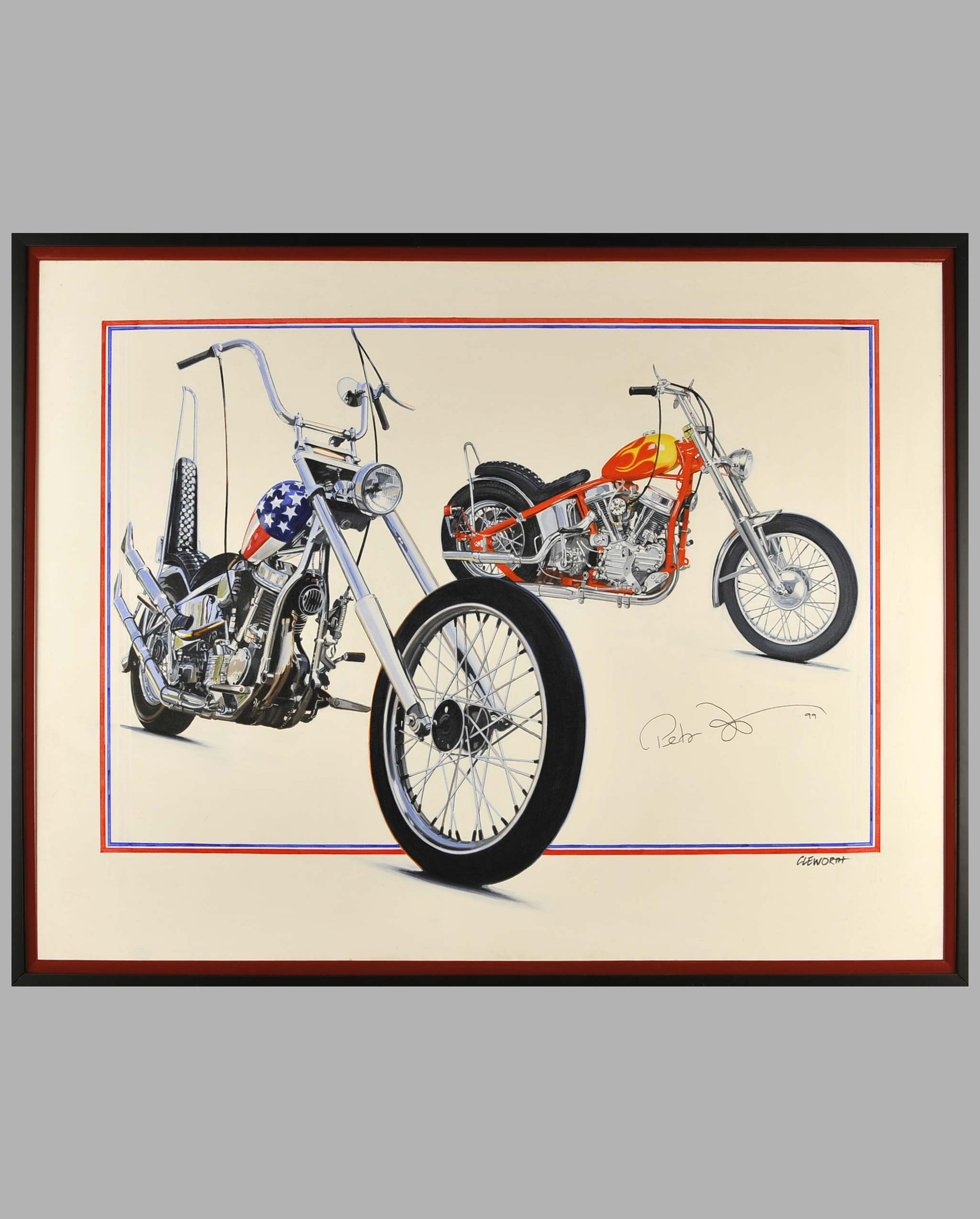 """Together Again"" by Harold Cleworth, 30th anniversary ""Easy Rider"", autographed by Peter Fonda"