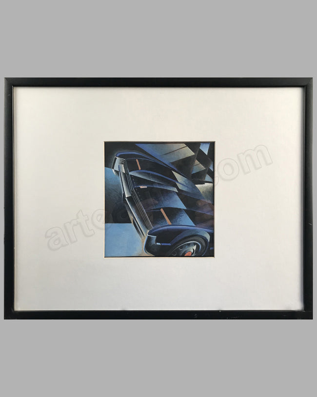 Oldsmobile Toronado gouache on board, by Alain Lévesque, mid-1990's