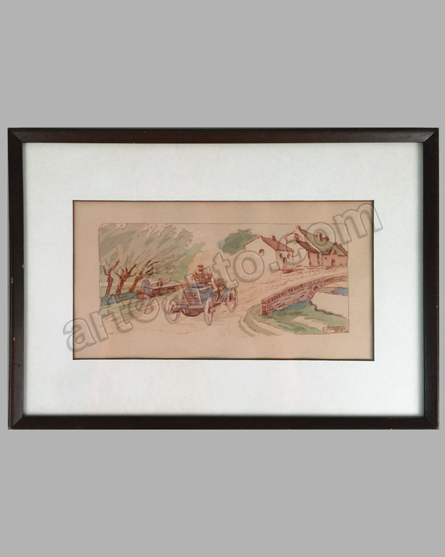 Tour de France 1899 hand colored lithograph by Ernest Montaut