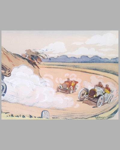 Tour de France 1912 hand colored lithograph by Gamy 5