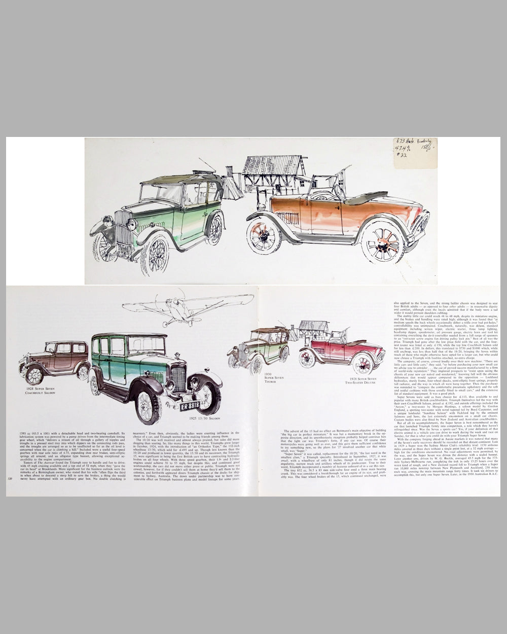 1928/30 Triumph illustrations by Harvey Winn, USA, 1972, black ink and watercolor paintings