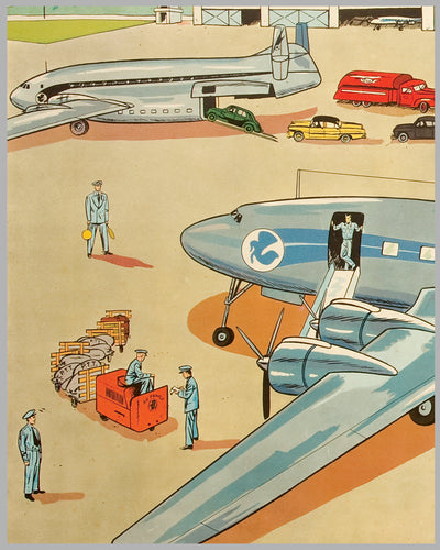 Un Terrain d'Aviation multicolor lithograph c. 1954 2