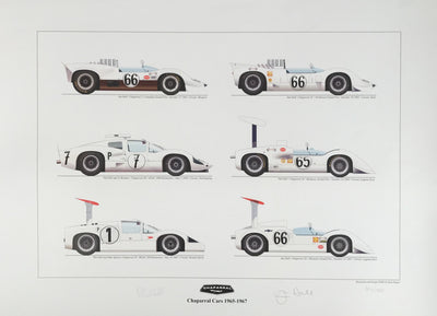 Chaparral Cars 1965 to 1967 Print by Kane Rogers Autographed by Phil Hill & Jim Hall