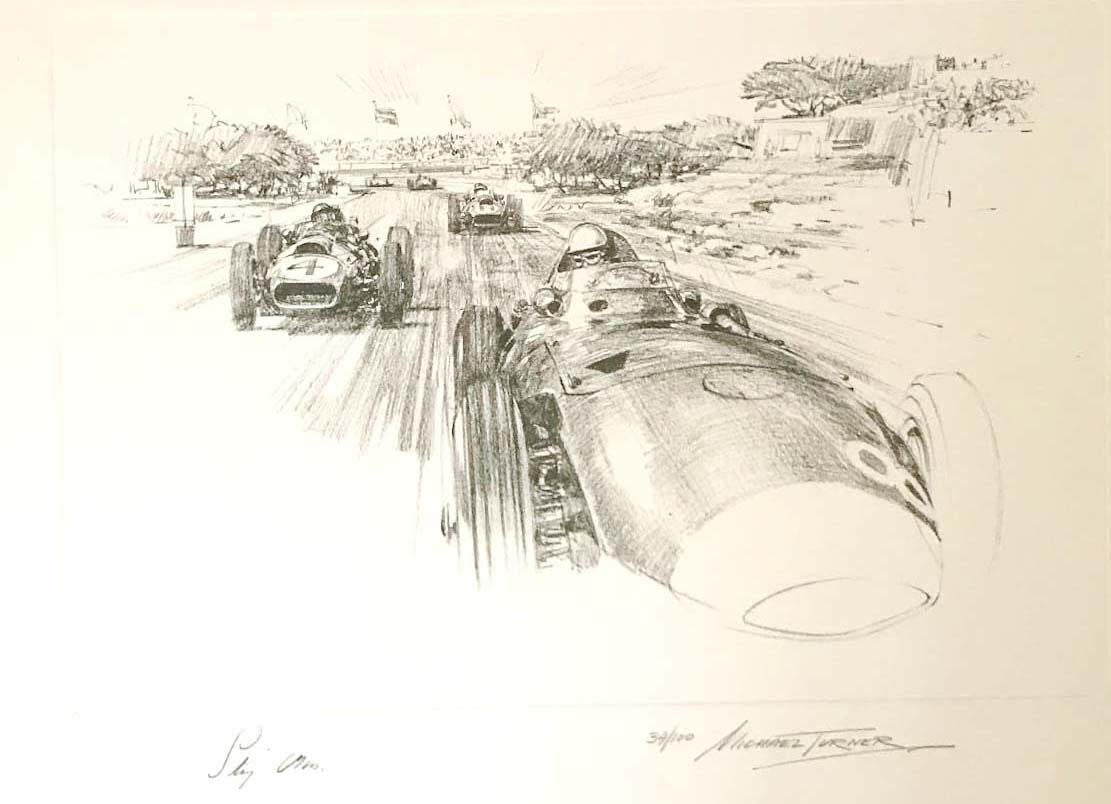 Stirling Moss 1958 Casablanca GP, print by Michel Turner