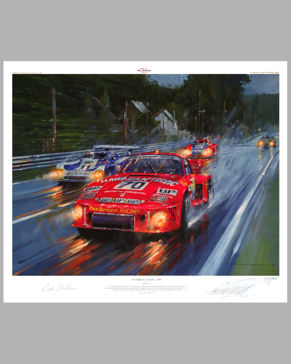 Victory at Le Mans 1979 giclee on paper by Nicholas Watts, autographed by Dick Barbour