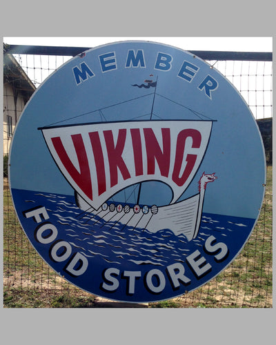 Member Viking Food Stores large metal enamel sign, ca. 1930's