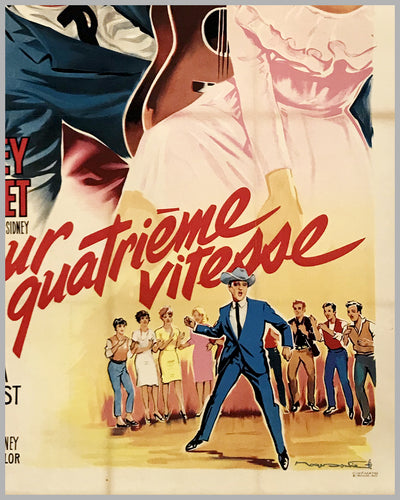 """L' Amour en quatrieme vitesse"" (Viva Las Vegas) large original movie poster by Roger Soubie, 1964 3"