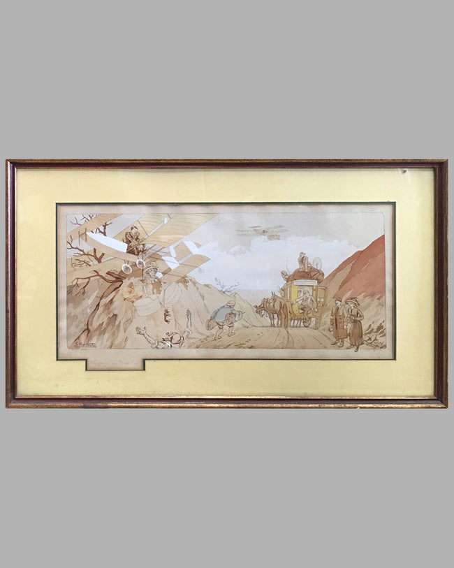 Voyage de Noce hand colored lithograph by Ernest Montaut