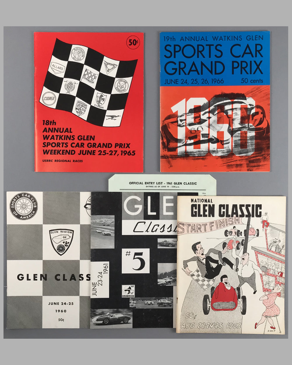 02 - Collection of 5 Sports Car races at Watkins Glen programs