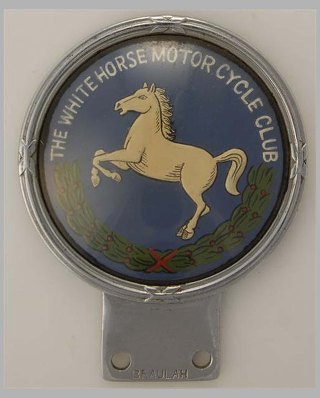 White Horse Motorcycle Club member's topper badge