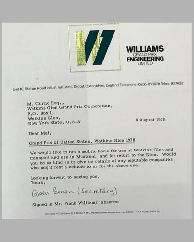 03 - Williams GP Engineering and Watkins Glen GP Corp. correspondence 3