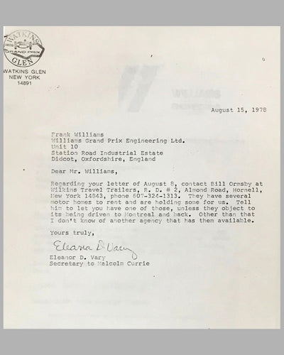 03 - Williams GP Engineering and Watkins Glen GP Corp. correspondence 5