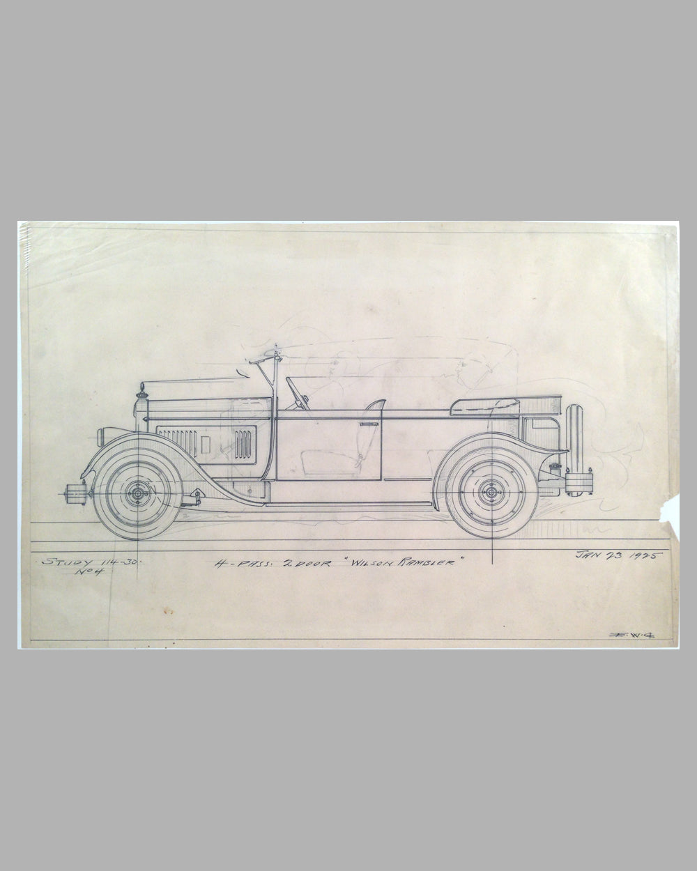 Wilson Rambler Touring Car concept drawing by E. W. Goodwin