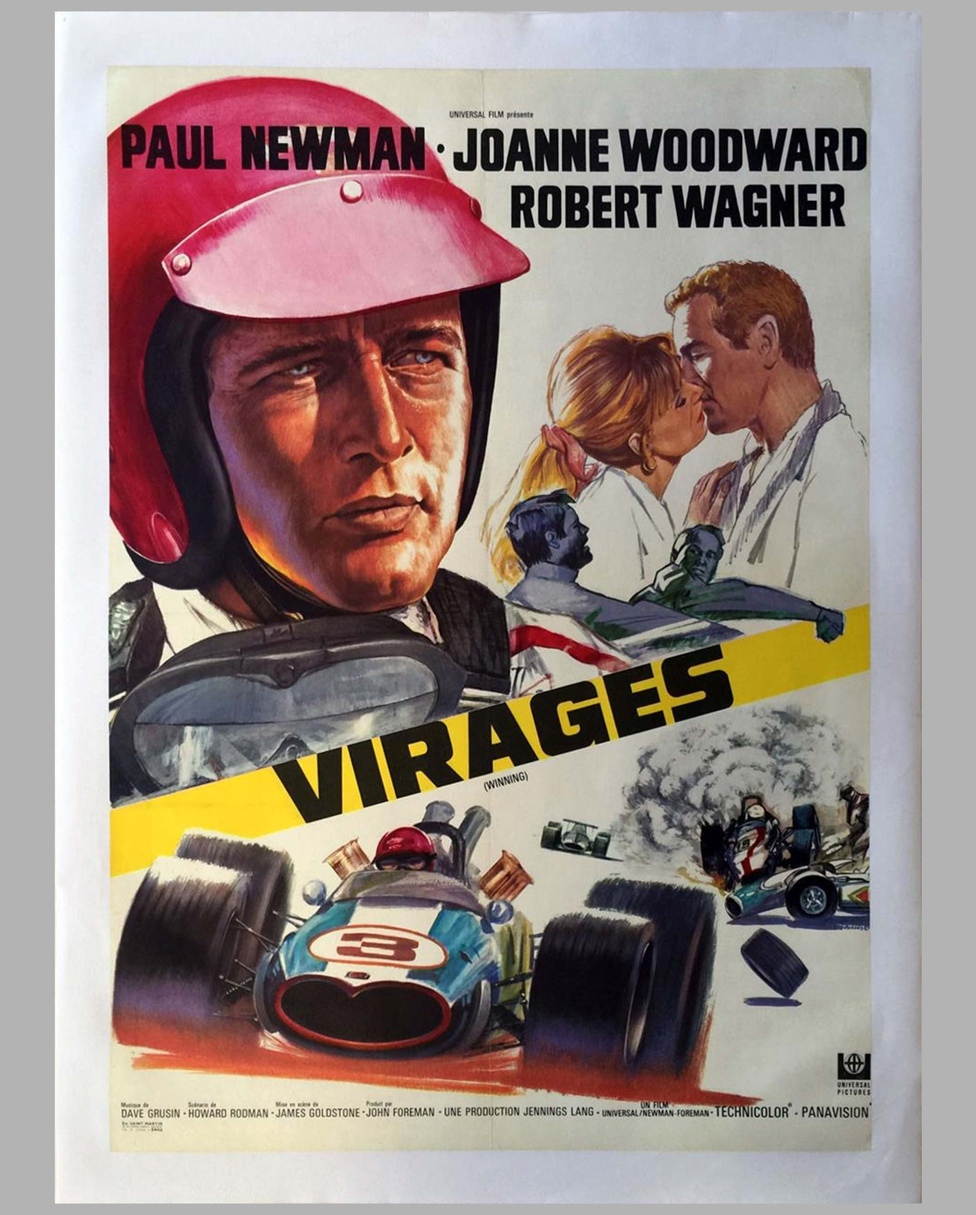 1969 original movie poster, Paul Newman in 'Virages' (Winning)