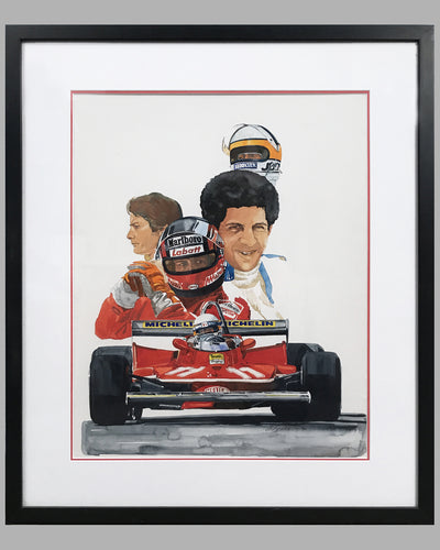 Ferrari, World Champion painting by Chuck Queener, 1979