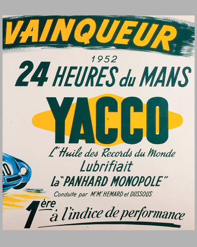 1952 Yacco Oil original advertising poster by P. Boyer 3