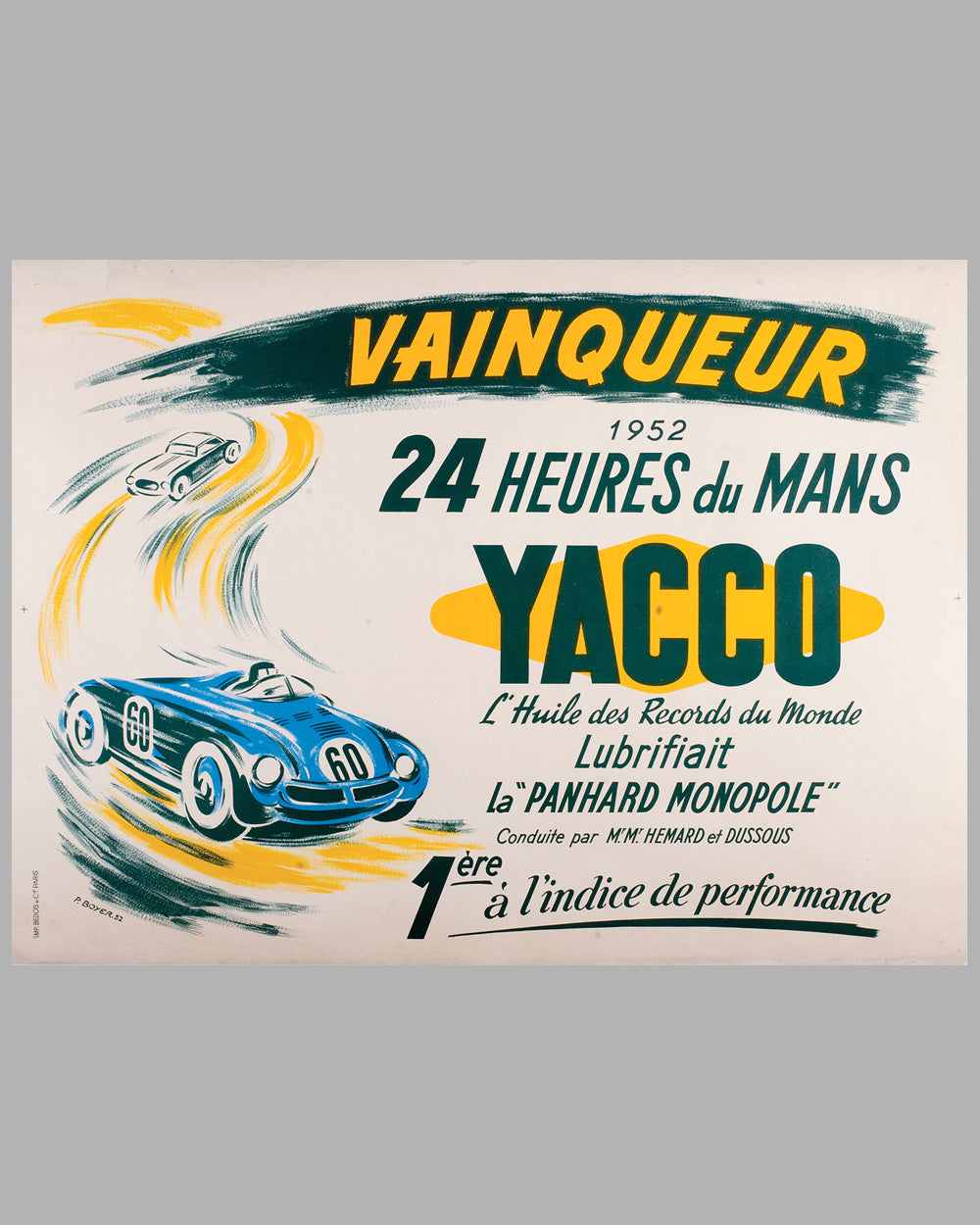 1952 Yacco Oil original advertising poster by P. Boyer