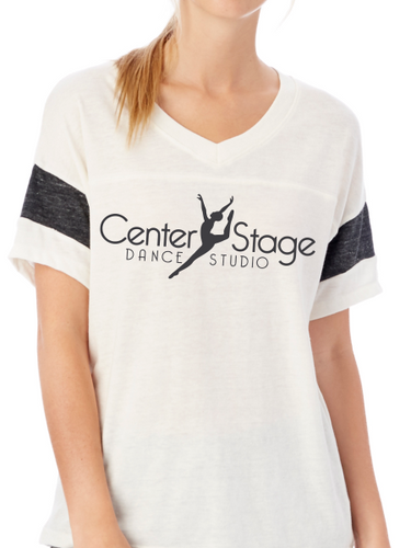 Center Stage Dance Studio Powder Puff V-Neck T