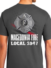Load image into Gallery viewer, Macedonia Fire Dept American Flag Badge Unisex T Shirt
