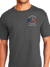 Load image into Gallery viewer, Macedonia Fire Dept American Flag Helmet Unisex T Shirt