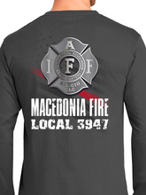 Load image into Gallery viewer, Macedonia Fire Dept American Flag Badge Unisex Long Sleeve T Shirt