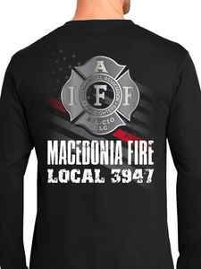 Macedonia Fire Dept American Flag Badge Unisex Long Sleeve T Shirt