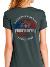 Load image into Gallery viewer, Macedonia Fire Dept American Flag Helmet Women's T Shirt