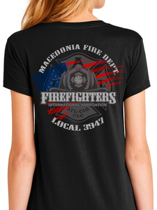 Macedonia Fire Dept American Flag Helmet Women's T Shirt
