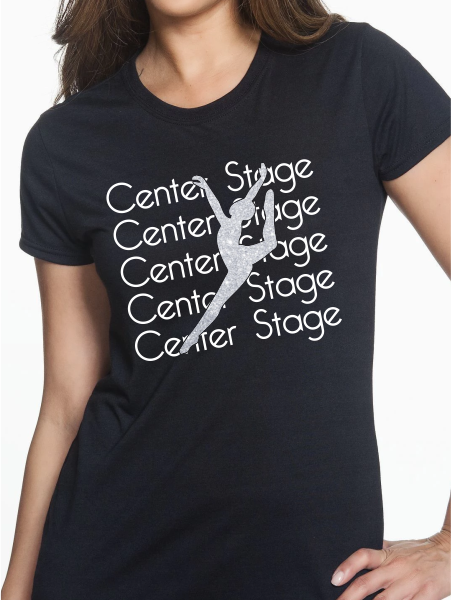 Center Stage Short Sleeve Glitter Dancer T Shirt