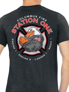 Columbus Fire - Eagle Diamond Plate Unisex T Shirt ENGINE