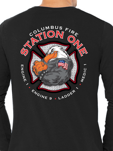 Columbus Fire - Eagle Diamond Plate Unisex Long Sleeve T Shirt ES/EMS