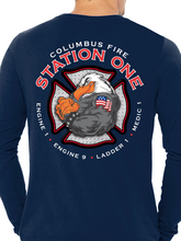 Load image into Gallery viewer, Columbus Fire - Eagle Diamond Plate Unisex Long Sleeve T Shirt LADDER