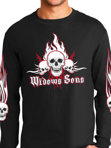 Passkeepers Flaming Skull Unisex Long Sleeve T Shirt