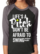 Load image into Gallery viewer, Life's a Pitch Nordonia Softball Raglan T Shirt
