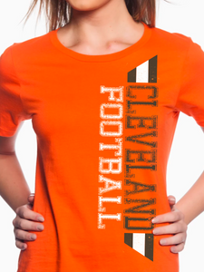 Cleveland Football Distressed Women's T Shirt