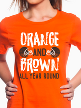 Load image into Gallery viewer, Orange & Brown Football Women's T Shirt