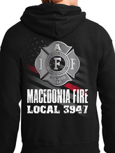 Load image into Gallery viewer, Macedonia Fire Dept American Flag Badge Unisex Pullover Hoodie