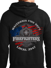 Load image into Gallery viewer, Macedonia Fire Dept American Flag Helmet Unisex Pullover Hoodie