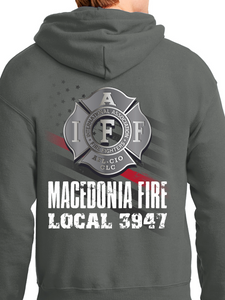Macedonia Fire Dept American Flag Badge Unisex Pullover Hoodie