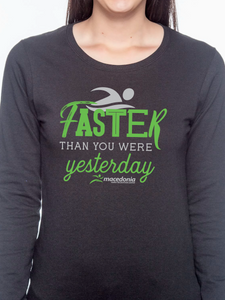 Swim Faster Than You Were Yesterday Women's Long Sleeve T Shirt