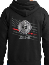 Load image into Gallery viewer, Aurora Fire Union / Flag & Badge Unisex Hooded Sweatshirt