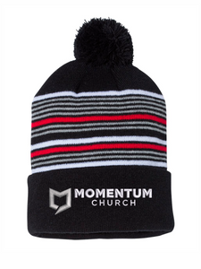 "Momentum 12"" Striped Pom-Pom Knit Beanie"