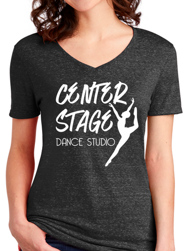 Center Stage Dance Studio Snowy Heather V Neck T Shirt