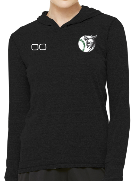 Nordonia Baseball & Number Triblend Long Sleeve Hooded Pullover