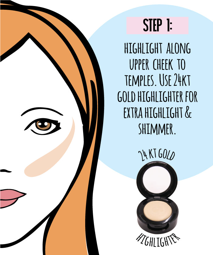 Step 1: Highlight along upper cheek to temples. Use 24Kt Gold highlighter for extra highlight & shimmer.