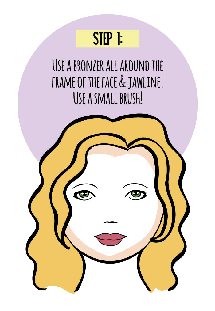 Step 1: Use a bronzer all around the frame of the face & jawline. Use a small brush!