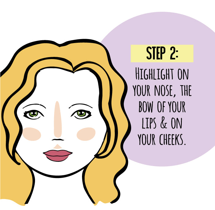 Step 2: Highlight on your nose, the bow of your lips & on your cheeks