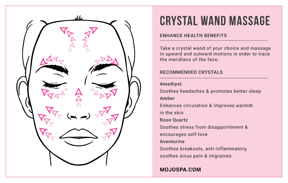 Crystal Wand Massage: 	Take a crystal wand of your choice and massage in upward and outward motions in order to trace the meridians of the face. 	 	Here are a few of our favorite crystals for facial massage and their benefits: 		○ Amethyst: soothes headaches & promotes better sleep 		○ Amber: enhances circulation & improves warmth in the skin 		○ Rose Quartz: soothes stress from disappointment & encourages self-love Aventurine: soothes breakouts, anti-inflammatory, soothes sinus pain & migraines