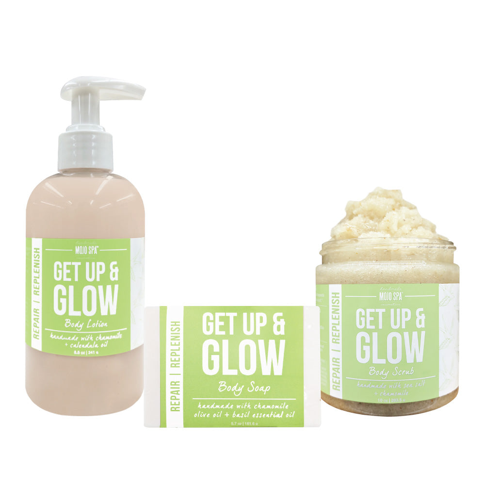 Get Up & Glow Scrub, Lotion & Soap Gift Set